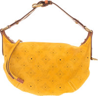 Louis Vuitton Yellow Perforated Monogram Suede Onatah PM Bag Very Good to Excellent Condition 10""