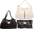 "Luxury Accessories:Bags, Jimmy Choo Set of Three; Black Leather, Python Embossed Leather & White Python Shoulder Bags. Very Good Condition. 18"" Wid... (Total: 3 Items)"