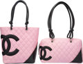 "Luxury Accessories:Bags, Chanel Set of Two; Pink & Black Quilted Lambskin Leather LigneCambon Bags. Very Good Condition. 11"" Width x 6""Height... (Total: 2 Items)"