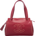 "Luxury Accessories:Bags, Chanel Red Caviar Leather Tote Bag. Excellent Condition. 13""Width x 9"" Height x 3.5"" Depth. ..."