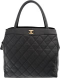 "Luxury Accessories:Bags, Chanel Black Quilted Lambskin Leather Tote Bag. Very Good toExcellent Condition. 11.5"" Width x 11"" Height x 5""Depth..."