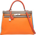 Luxury Accessories:Bags, Hermes Limited Edition 35cm Orange H, Blue Lin, Blue Hydra, Etain,Gold & Sanguine Clemence Leather Harlequin Retourne Kelly B...
