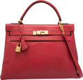 Luxury Accessories:Bags, Hermes 32cm Rouge Vif Courchevel Leather Retourne Kelly Bag with Gold Hardware. P Circle, 1986. Good to Very Good Conditio...