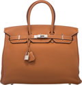 """Luxury Accessories:Bags, Hermes 35cm Gold Clemence Leather Birkin Bag with Palladium Hardware. J Square, 2006. Excellent Condition. 14"""" Wid..."""