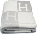 "Luxury Accessories:Home, Hermes Ecru & Gris Clair Wool and Cashmere Avalon Blanket.Pristine Condition. 53"" Width x 67"" Length. ..."