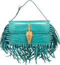 """Luxury Accessories:Bags, Valentino Shiny Teal Crocodile Gryphon Bag. PristineCondition. 7"""" Width x 4.5"""" Height x 1.5"""" Depth. ..."""
