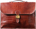 Luxury Accessories:Bags, Hermes 40cm Shiny Etrusque Crocodile Sac a Depeches Briefcase Bag with Gold Hardware. Circa 1960's. Good Condition. ...