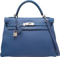 Luxury Accessories:Bags, Hermes 32cm Blue Brighton Clemence Leather Retourne Kelly Bag withPalladium Hardware. J Square, 2006. Very Good to Excell...