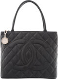 "Luxury Accessories:Bags, Chanel Black Quilted Caviar Leather Medallion Tote Bag. VeryGood Condition. 12"" Width x 9.5"" Height x 6"" Depth. ..."