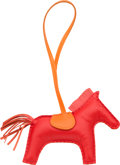 """Luxury Accessories:Accessories, Hermes Rouge Indienne, Feu & Rose Jaipur Milo Leather GriGri Rodeo MM Charm. Pristine Condition. 4.5"""" Width x 4"""" Height x ..."""
