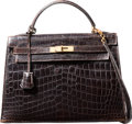 "Luxury Accessories:Bags, Hermes 32cm Shiny Marron Fonce Nilo Crocodile Sellier Kelly Bagwith Gold Hardware. M Square, 1983. Good Condition. 12.5""..."