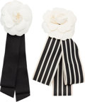 "Luxury Accessories:Accessories, Chanel Set of Two; Black & White Fabric Camellia Brooches.Very Good to Excellent Condition. 3"" Width x 7"" Length.3"" ... (Total: 2 )"