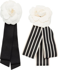 "Chanel Set of Two; Black & White Fabric Camellia Brooches Very Good to Excellent Condition 3"" Wid"