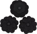 "Luxury Accessories:Accessories, Chanel Set of Three; Black Tweed Boucle & Wool Felt CamelliaBrooches. Excellent Condition. 4.5"" Width x 4.5"" Length.... (Total: 3 )"