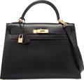 "Luxury Accessories:Bags, Hermes 32cm Black Calf Box Leather Sellier Kelly Bag with GoldHardware. G Square, 2003. Excellent Condition. 12.5"" Width..."