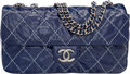 """Luxury Accessories:Bags, Chanel Blue Quilted Distressed Patent Leather Flap Bag. PristineCondition. 12"""" Width x 6.5"""" Height x 3"""" Depth. ..."""
