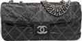"Luxury Accessories:Bags, Chanel Black Quilted Distressed Patent Leather Flap Bag.Pristine Condition. 12"" Width x 6.5"" Height x 3""Depth. ..."