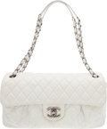 "Luxury Accessories:Bags, Chanel White Quilted Suede East-West Flap Bag. Good Condition. 11.5"" Width x 7"" Height x 2.5"" Depth. ..."