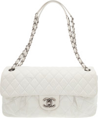 "Chanel White Quilted Suede East-West Flap Bag Good Condition 11.5"" Width x 7"" Height x 2.5"" Depth"