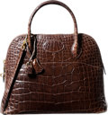 Luxury Accessories:Bags, Hermes 31cm Shiny Marron Fonce Alligator Sellier Bolide Bag withGold Hardware. Y Circle, 1995. Good Condition.12...