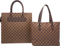 """Luxury Accessories:Bags, Louis Vuitton Set of Two; Damier Ebene Canvas Bags. ExcellentCondition. 13.5"""" Width x 13.5"""" Height x 3.5"""" Depth. 11"""" ...(Total: 2 Items)"""