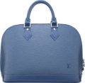 "Luxury Accessories:Bags, Louis Vuitton Blue Myrtille Epi Leather Alma Bag. ExcellentCondition. 12"" Width x 9"" Height x 6"" Depth. ..."