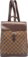 "Luxury Accessories:Bags, Louis Vuitton Damier Ebene Canvas Soho Backpack Bag. ExcellentCondition. 9.5"" Width x 12.5"" Height x 4"" Depth. ..."