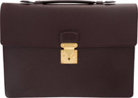"Louis Vuitton Burgundy Taiga Leather Briefcase Bag Very Good Condition 15"" Width x 11"" Height x 2"