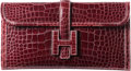 "Luxury Accessories:Bags, Hermes Shiny Bordeaux Alligator Jige Elan Clutch Bag. F Square,2002. Excellent Condition. 11"" Width x 5.5""Height..."