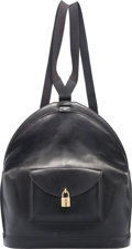 """Luxury Accessories:Bags, Hermes Black Calf Box Leather Sangles a Dos Backpack Bag with GoldHardware. Z Circle, 1996. Good Condition. 12""""W..."""