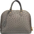 """Luxury Accessories:Bags, Louis Vuitton Gray Ostrich Alma PM Bag. Very Good Condition. 12.5"""" Width x 9.5"""" Height x 6"""" Depth. ..."""