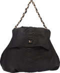 "Luxury Accessories:Bags, Zagliani Black Python Shoulder Bag. Excellent Condition.17"" Width x 16"" Height x 6"" Depth. ..."