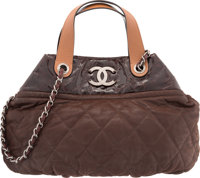 "Chanel Brown Quilted Suede In The Mix Bag Excellent Condition 16"" Width x 11"" Height x 7"" Depth<..."