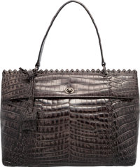 "Bottega Veneta Shiny Gray Crocodile Cocco Lave Esperanza Bag Very Good Condition 13"" Width x 9"" H"