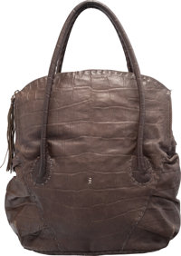 "Henry Beguelin Gray Alligator Embossed Leather Tote Bag Very Good to Excellent Condition 12"" Widt"