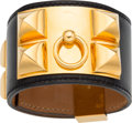 Luxury Accessories:Accessories, Hermes Black Calf Box Leather Collier de Chien PM Bracelet withGold Hardware. I Square, 2005. Very Good Condition....
