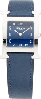 Hermes Stainless Steel H Hour MM Watch with Blue Nuit Swift Leather Band X, 2016 Pristine Conditi