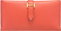 Hermes Brick Courchevel Leather Bearn Wallet with Gold Hardware G Square, 2003 Good to Very Good