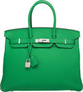 "Luxury Accessories:Bags, Hermes 35cm Bamboo Clemence Leather Birkin Bag with Palladium Hardware. R Square, 2014. Excellent Condition. 14"" W..."
