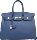 Luxury Accessories:Bags, Hermes 35cm Blue Brighton Clemence Leather Birkin Bag withPalladium Hardware. K Square, 2007. Very Good toExcellent ...