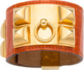 Luxury Accessories:Accessories, Hermes Shiny Orange H Porosus Crocodile Collier de Chien PMBracelet with Gold Hardware. J Square, 2006. Good to Very...