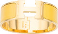 """Luxury Accessories:Accessories, Hermes Yellow Enamel Narrow Clic Clac GM Bracelet with Gold Hardware. Excellent Condition. 0.5"""" Width x 7"""" Length. ..."""