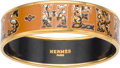 "Luxury Accessories:Accessories, Hermes 60mm Brown Narrow Printed Enamel Bracelet with Gold Hardware . Excellent Condition. 0.5"" Width x 7.5"" Length..."