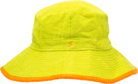 Hermes Green & Orange Terrycloth Bucket Hat Excellent Condition Size 56