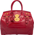 """Luxury Accessories:Bags, Ralph Lauren Shiny Red Crocodile Ricky Bag. Good to Very Good Condition. 12.5"""" Width x 11"""" Height x 7"""" Depth. ..."""