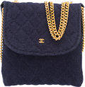 "Luxury Accessories:Bags, Chanel Navy Blue Quilted Wool Coin Pouch. ExcellentCondition. 3"" Width x 3"" Height x 0.5"" Depth. ..."