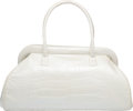 """Luxury Accessories:Bags, Alexandra Knight Pearlescent White Alligator Tote Bag. Good toVery Good Condition. 16.5"""" Width x 9.5"""" Height x 7.5""""D..."""