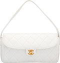 "Luxury Accessories:Bags, Chanel White Quilted Lambskin Leather Shoulder Bag. GoodCondition. 10"" Width x 5.5"" Height x 2"" Depth. ..."