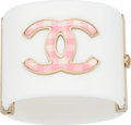 "Luxury Accessories:Accessories, Chanel White & Pink Enamel CC Bracelet. ExcellentCondition. 2"" Width x 6.5"" Length. ..."