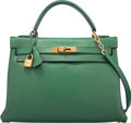 Luxury Accessories:Bags, Hermes 32cm Vert Bengale Courchevel Leather Retourne Kelly Bag withGold Hardware. U Circle, 1991. Good to Very Good C...